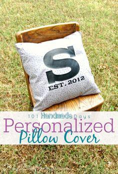 Personalized Pillow Cover - BusyBeingJennifer.com #101handmadedays