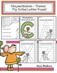 """Chrysanthemum Name Activities: Quick, easy & fun """"My Initial"""" number puzzles for kiddos to color, cut & put together. Students are happily engaged working independently, which frees you up! Woo hoo. Completed projects make a sweet bulletin board. Fun icebreaker activity for the 1st week of school."""