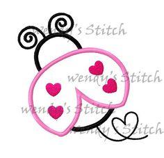 Ladybug love heart ladybug applique machine by WendysStitch