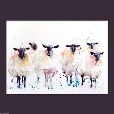 Jen Buckley Art - JEN BUCKLEY signed LIMITED EDITON PRINT of my original 6 Black faced Suffolk SHEEP