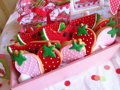 Kara's Party Ideas Watermelon and Strawberry Summer Party Fruit Cookies, Strawberry Cookies, Cupcake Cookies, Watermelon Cookies, Cupcakes, Cute Watermelon, Watermelon Birthday, Fruit Party, Strawberry Summer