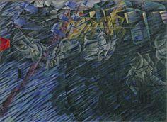 Umberto Boccioni, Les États d'Âme . Ceux qui partent, 1911. Huile sur toile, 70,8 x 95,9 cm, New York, The Museum of Modern Art