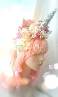 Unicorn headband headdress flower crown photo prop birthday party hat bubble gum goth Unicorn unicorn unicorn