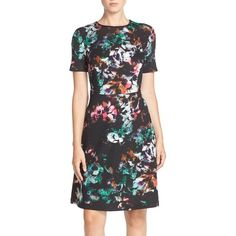 Marc New York Floral Print Scuba Fit & Flare Dress (€115) ❤ liked on Polyvore featuring dresses, floral pattern dress, floral fit and flare dress, fit and flare dress, marc new york dresses and floral dress