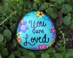 YOU ARE LOVED - Beautiful -garden stone, painted rocks, hand painted stones, rock art, good luck charms, flower stone, gift, birthday, mom