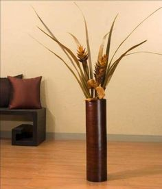 green floral crafts tall ivory floor vase, willow buds & red