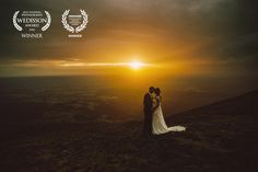 Award-winning wedding picture - Wedisson & Wedaward - Couple under the rain on top of a volcano in an epic sunset - Zephyr & Luna photograhy