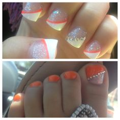 18 Pretty Orange Nail Designs - Pretty Designs - Prom nails but in pink. - 18 Pretty Orange Nail Designs - Pretty Designs - Prom nails but in pink. That is so cool I want fake nails like that or maybe I could try the desig - - Nail Designs Tumblr, Toe Nail Designs, Nails Design, Orange Nails, Blue Nails, Deco Orange, Orange Pink, Purple, Hair And Nails