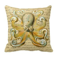 Shop Octopus design by Ernst Haeckel, circa 1904 Throw Pillow created by SwansonWork. Ernst Haeckel, Custom Printed Fabric, Printing On Fabric, Canvas Fabric, Cotton Canvas, Octopus Illustration, Octopus Design, Fabric Envelope, Pillow Forms