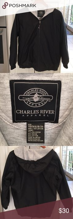 Charles River Youth XL Hooded Jacket. Black Like New!!! Worn once or twice. Black and grey hooded Charles River Jacket. Don't miss!!  Size can fit an Adult Small too. Like I said you will love the quality. Charles River Jackets & Coats