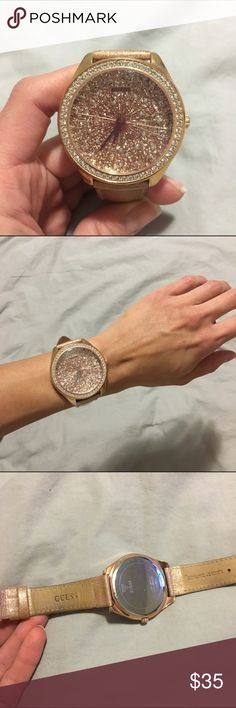 Guess Large Face Rose Gold Glitter Watch Fun sparkly glitter watch by Guess. I bought another rose gold watch and don't need this one anymore. I do not have the box for this. Guess Accessories Watches