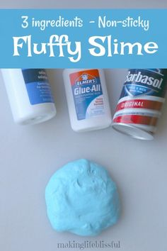 Easy slime recipe with only three ingredients and no mess! NOT STICKY and perfect for kids to make! slime easy Easy 3 Ingredient Fluffy Slime Recipe Non-Sticky Easy Fluffy Slime Recipe, Fluffy Slime Ingredients, Diy Fluffy Slime, Making Fluffy Slime, Puffy Slime Recipe, Easiest Slime Recipe, Recipe For Slime, Fluffy Slime Without Borax, Slime Without Borax Diy