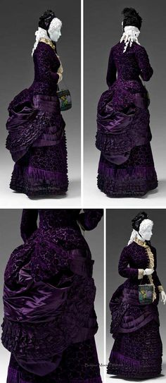 Walking dress, Paris, 1880-1883. Silk velvet, silk satin, machine lace. Three pieces (bodice, skirt, bustle pouf). The complex draping of the overskirt creates the classic bustle silhouette which was hugely popular in the 1880s. This silhouette required an undergarment support provided by metal bustles or thick, voluminous pads filled with horsehair or cotton. This fullness made the waist look smaller. Via Mint Museum.