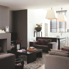 Séjour Contemporain Taupe Gris Blanc Noir Intérieur Par - Deco salon salle a manger gris pour idees de deco de cuisine
