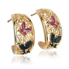 Yellow Gold Plated Sterling Silver Sapphire and Ruby Butterfly Half-Hoop Earrings Amazon Curated Collection. $49.00. The natural properties and composition of mined gemstones define the unique beauty of each piece. The image may show slight differences to the actual stone in color and texture.. Made in China. Gemstones may have been treated to improve their appearance or durability and may require special care.