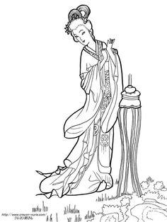 東洋美人画からの塗り絵の下絵、画像