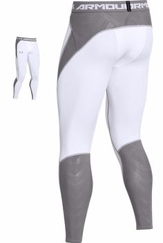 fab36a505138 Under Armor Mens HeatGear ArmourVent Compression White Gry Pants 2XL  1253737-100