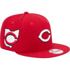 Men s New Era Red Cincinnati Reds State Clip Snapback 9FIFTY Hat 48fc930d45f