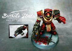 Warhammer 40k 30k Blood Angels Captain in Cataphractii Terminator armour Candy Red Metallic