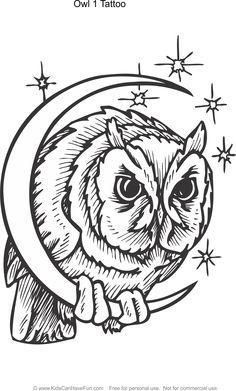 Owl 1 Tattoo Design Coloring Page Kidscanhavefun