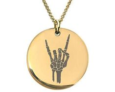 Skeleton Hand Rock on Necklace Stainless Steel or Gold Plated Laser Engraved Round Pendant Clock Necklace, Gold Necklace, Pendant Necklace, Prague Astronomical Clock, Skeleton Hands, 316l Stainless Steel, Round Pendant, Laser Engraving, 18k Gold