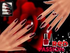 Red Passion Nails by Pinkzombiecupcakes at TSR via Sims 4 Updates
