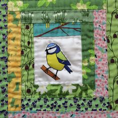 Hand-quilted log cabin patchwork quilt block featuring a blue tit. All fabrics original designs by Sea Parrot. www.seaparrot.co.uk Log Cabin Patchwork, Patchwork Fabric, Fabric Shop, Quilt Blocks, Parrot, Fabric Design, Scrap, Fabrics, Blue Tit