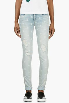 Marc By Marc Jacobs Blue Slim Rolled Cuff Lily Dot Jeans for women   SSENSE