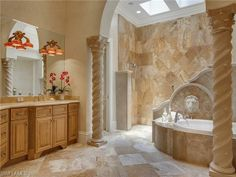 The Estates at Bay Colony Golf Club | 1254 Waggle Way,Naples, FL 34108 | Master bathroom with soaking tub, walk in shower and sky lights |