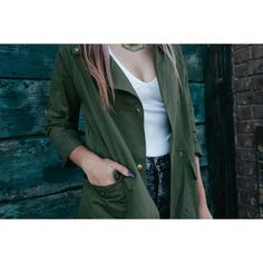 Army Green Tab Sleeve Loose Jacket ($80) ❤ liked on Polyvore featuring outerwear, jackets, stylemoi, sleeve jacket, loose jacket and green jacket