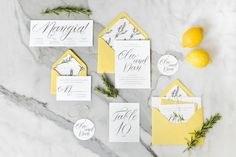 Lemon inspired wedding invitations: http://www.stylemepretty.com/2014/03/05/gourmet-wedding-details-for-the-food-obsessed/
