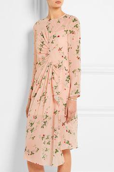 Topshop Unique | Hortensia gathered printed silk dress | NET-A-PORTER.COM