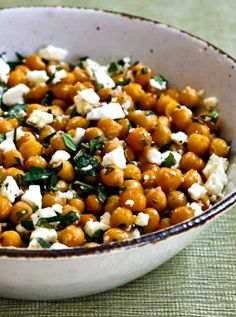 Garlicky Roasted Chickpeas with Feta, Mint, and Lemon found on KalynsKitchen.com
