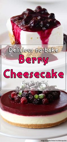 This Delicious no-bake berry cheesecake is thick, creamy and flavoured with tangy lemon and blueberries throughout. make this stunning dessert for your next holiday gathering.  #cheesecake #dessert #berry #easyrecipechef  #fluff #desserts #laborday #cookout