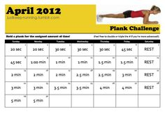 Plank A Day. Thinking about trying this. I'm a little late in the month to be on track with the challenge, but I can start the challenge now and and just be a few days behind. I'm not good at planking so I do need to start from the beginning