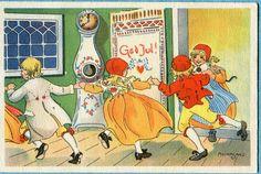 Vintage Swedish Christmas Card by Adina Sand ~ Orange Accents