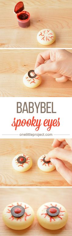 These Babybel eyeballs make a GREAT healthy Halloween snack idea! And they make a mega spooky party food idea too!