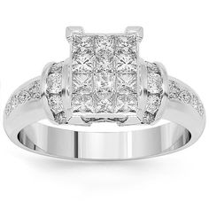 This exquisite womens diamond Engagement ring is crafted in highly polished 14K white gold. The center piece features brilliant invisibly set princess cut diamonds with channel set round cut diamonds on two opposite sides. The band is highlighted with a number of prong set round cut diamonds on both sides. Shining with beauty and elegance, this is an ideal gift for that special occasion. $1,406.00
