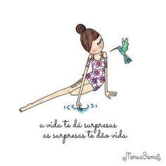 Por muitas surpresas felizes! #regram @monicacrema.art #frases #ilustrações #surpresas #vida