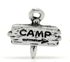 5  13 x 13 mm Camp Sign Charms Word  Camp  by FindingsKeepers, $1.30