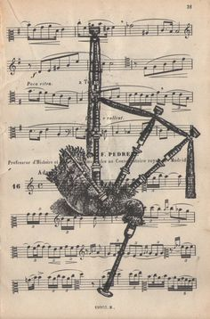 Highland Bagpipe antique sheet music book page upcycled dictionary fine art… Diana Gabaldon, Outlander, Bagpipe Music, Scottish Tattoos, Scottish Bagpipes, Celtic Music, Sheet Music Book, Celtic Tree, My Heritage