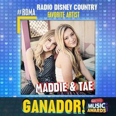 """¡Felicidades a Maddie & Tae por """"Radio Disney Country Favorite Artist"""" este año en los #RDMA 2016!"""