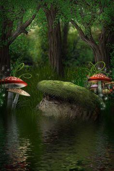 Waterside Mushroom 5'x7' CP Backdrop Computer Painted Scenic Background ZJZ 438 | eBay