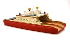 Vintage Shabby Wooden TOY Ferry Boat by aniandrose on Etsy