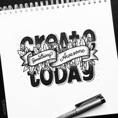 Lettering Inspiration - create something awesome today Hand Lettering Quotes, Calligraphy Quotes, Creative Lettering, Calligraphy Letters, Typography Quotes, Typography Letters, Lettering Design, Doodle Drawings, Doodle Art