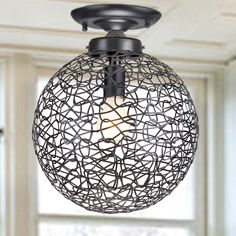 Marcela Antique Copper Flush Mount Crystal Bead Chandelier