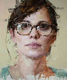 """""""Theresa"""" - Jacob Dhein, oil on panel {contemporary #expressionist art female head eyeglasses grunge woman face portrait cropped painting #loveart} jacobdhein.com"""