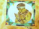 Drawn and painted on fabric - SA Tribal Placemats - San Woman
