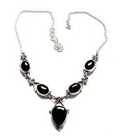 #Beautiful 925 Sterling Silver #Black Onyx Natural #Gemstone Necklace for Woman