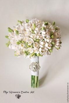 Купить Букет невесты, Свадебный букет с фрезиями, Белый букет, Монобукет - белый, букет невесты